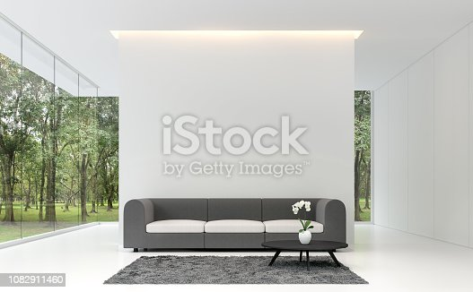 1090975842 istock photo Minimal living room with white backdrop 3d rendering image 1082911460