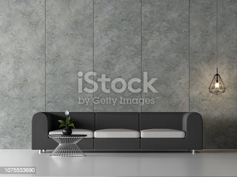 994217090istockphoto Minimal loft living room with concrete wall 3d render 1075533690