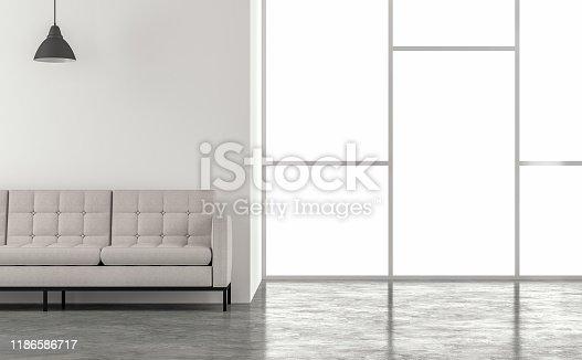 994217090 istock photo Minimal loft style living room 3d render 1186586717