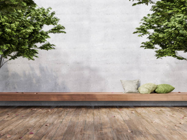 Minimal loft style outdoor terrace 3d render Minimal loft style outdoor terrace 3d render,There are wooden floors, empty concrete walls decorate with long wood bench and green pillow grounds stock pictures, royalty-free photos & images