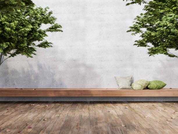 Minimal loft style outdoor terrace 3d render stock photo