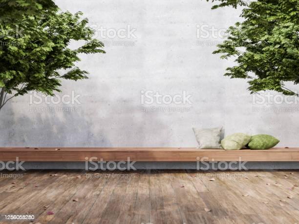 Photo of Minimal loft style outdoor terrace 3d render
