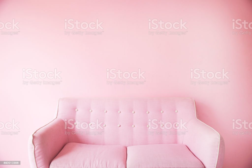Minimal Of Pink Sofa Background Stock Photo More Pictures Of