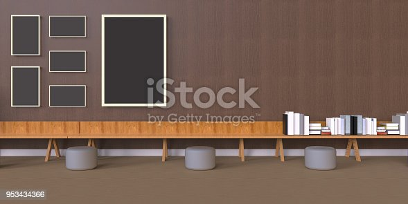 istock Minimal Office and Photo Frames on desk wood wall 953434366