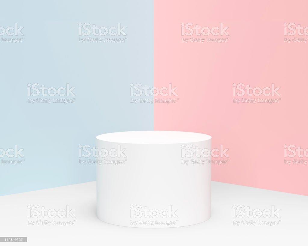최소한의 파스텔 실린더 제품 디스플레이 - 로열티 프리 0명 스톡 사진