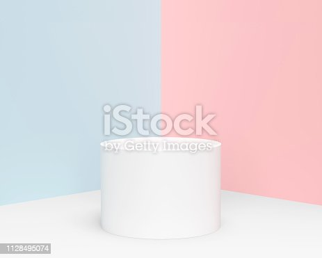 istock Minimal pastel cylinder product display 1128495074