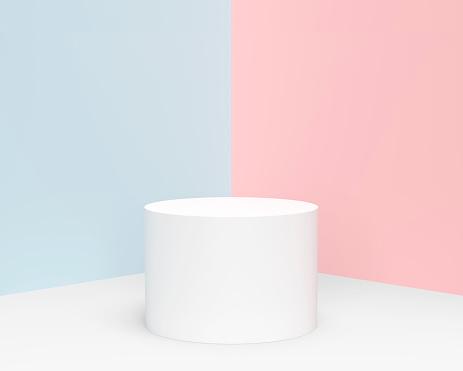 최소한의 파스텔 실린더 제품 디스플레이 0명에 대한 스톡 사진 및 기타 이미지