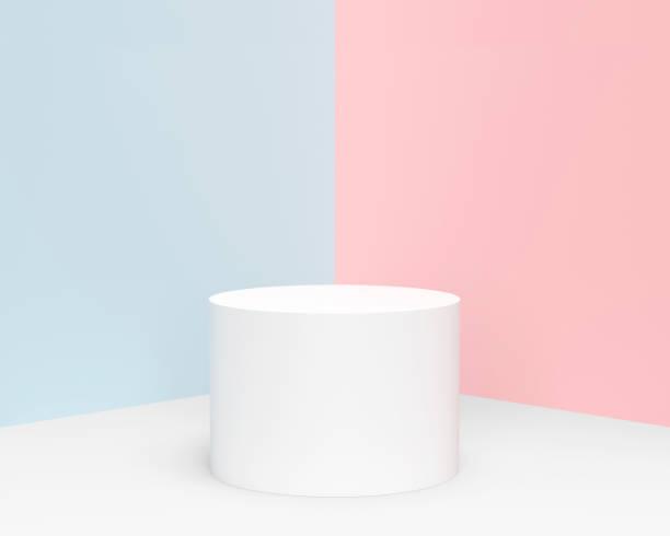 minimal pastell cylinder produkt display - piedestal bildbanksfoton och bilder