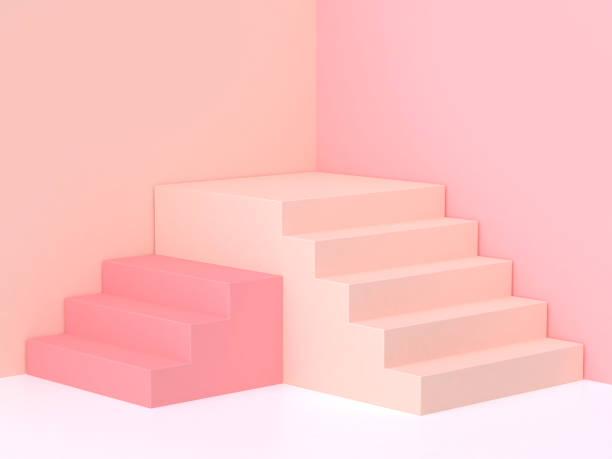 podium de minimes pastel rose-crème mur angle escalier rendu 3d - marches marches et escaliers photos et images de collection