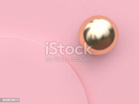 istock minimal pink background curve corner circle gold sphere-round metallic reflection 3d rendering pink scene 946829872