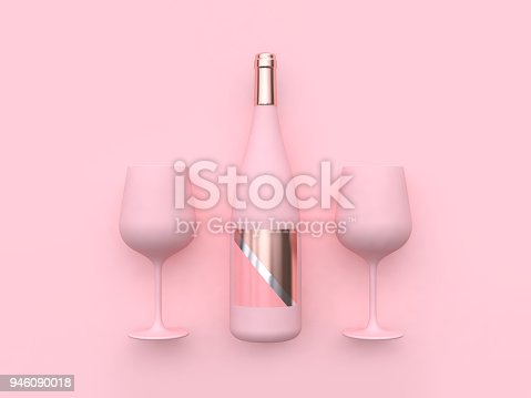 istock minimal pink background wine glass wine bottle 3d rendering 946090018