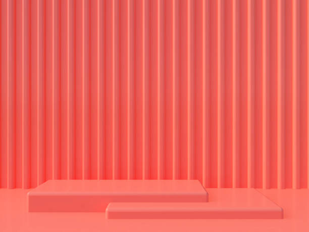 Minimal podium background. Geometric shape.  Pink coral color scene. Minimal 3d rendering. Scene with geometrical forms and textured background. 3d render. stereoscopic image stock pictures, royalty-free photos & images