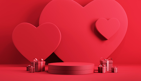 Minimal podium product background for Valentine, Red heart and gift box with ribbon bow on red background.