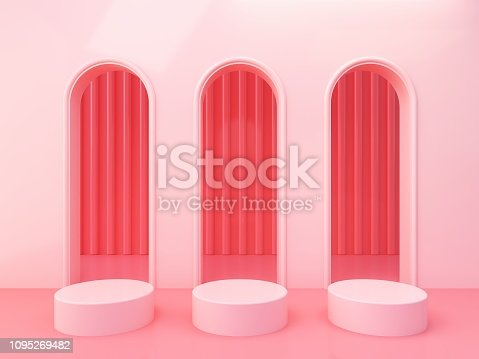 993080194 istock photo Minimal Scene with arches and empty podium, minimal abstract background. 1095269482