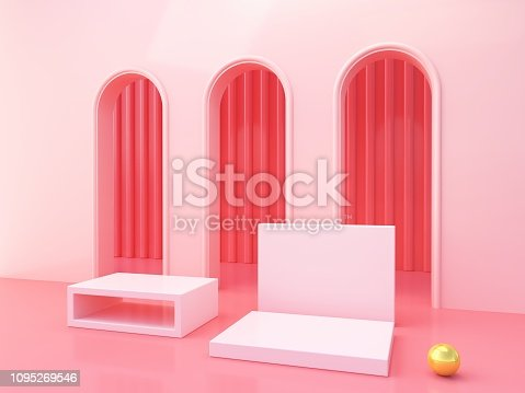 993080194 istock photo Minimal Scene with arches and empty podium, minimal abstract background. 1095269546