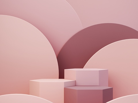 Minimal scene with podium and abstract background. Geometric shapes.