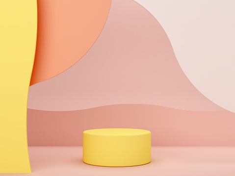 Minimal scene with podium and abstract background. Geometric shapes. Pastel colors scene. Minimal 3d rendering.