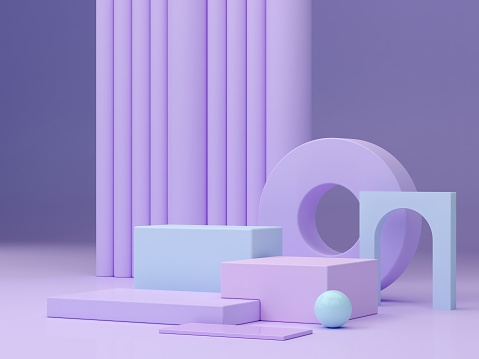 Minimal scene with podium and abstract background. Geometric shapes. Pastel colors scene