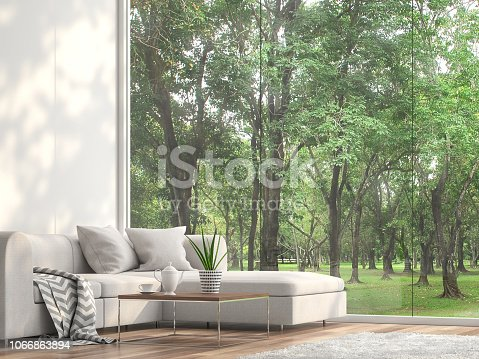 istock Minimal sofa located at the window with garden view 3d render 1066863894