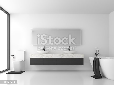 istock Minimal style bathroom with black and white 3d render 1151372131