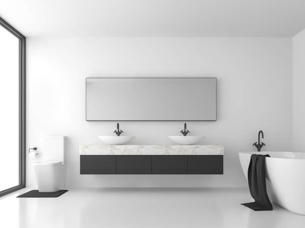 Minimales Bad mit Schwarz-Weiß-3d-Rendering – Foto