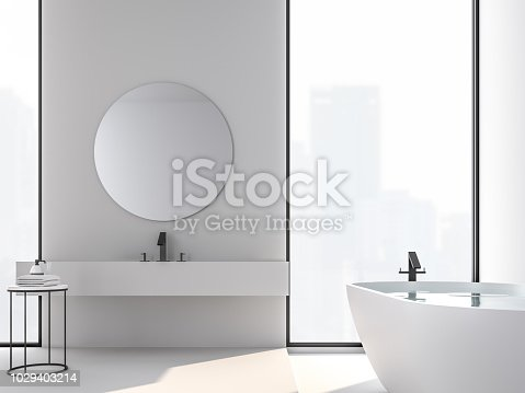 istock Minimal style bathroom with city view 3d render 1029403214