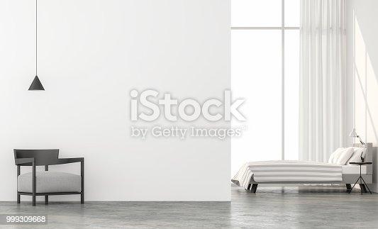 994217090 istock photo Minimal style bedroom 3d render. 999309668