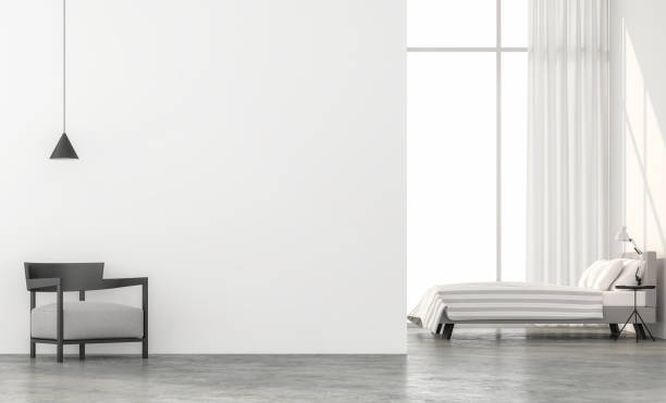 Minimalistischen Stil Schlafzimmer 3d Render. – Foto