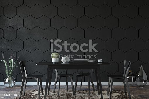 Minimal style dining room with hexagonal wall