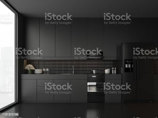 Minimal style black kitchen 3d render picture id1151372156?b=1&k=6&m=1151372156&s=612x612&h=qgcdjingkrgvs61uw61olch1onag7vc7ogtzsoowj6c=
