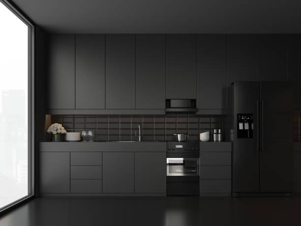 Minimale Stil schwarze Küche 3d render – Foto