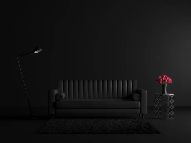 Minimaler Stil schwarzes Wohnzimmer mit Vinatage Sofa 3d render – Foto