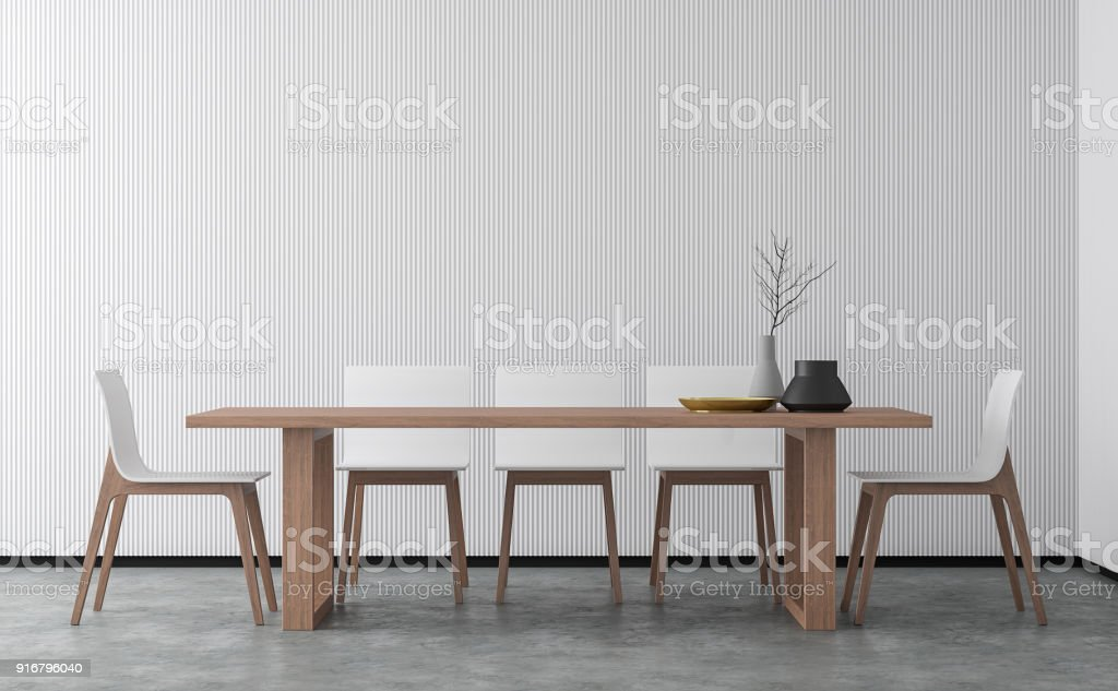 Minimal style dining room 3d rendering image stock photo