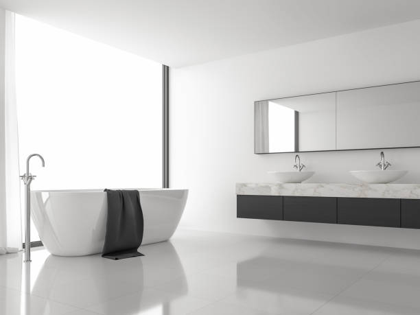 Minimales Bild des modernen Badezimmers mit schwarz-weißem 3d-Rendering – Foto
