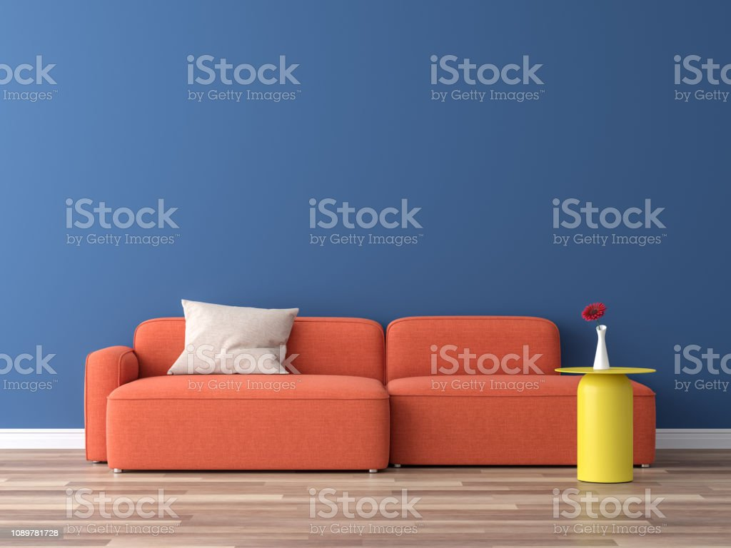 Minimal style interior colorful concept 3d render stock photo