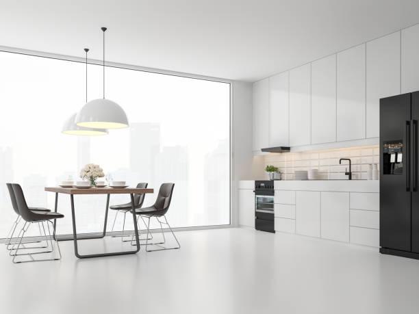 Minimale Küche und Esszimmer 3d render – Foto
