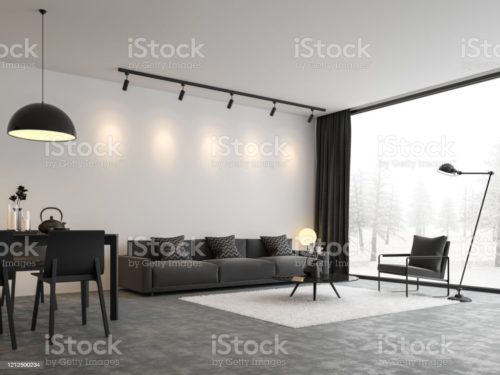 Minimal style living and dining room 3d render Minimal style living and dining room 3d render,There are concrete floor,white wall.Finished with black and white furniture,The room has large windows. Looking out to see the view of winter. Apartment Stock Photo