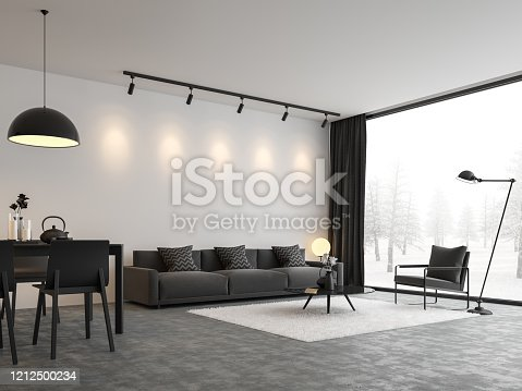 924294300 istock photo Minimal style living and dining room 3d render 1212500234
