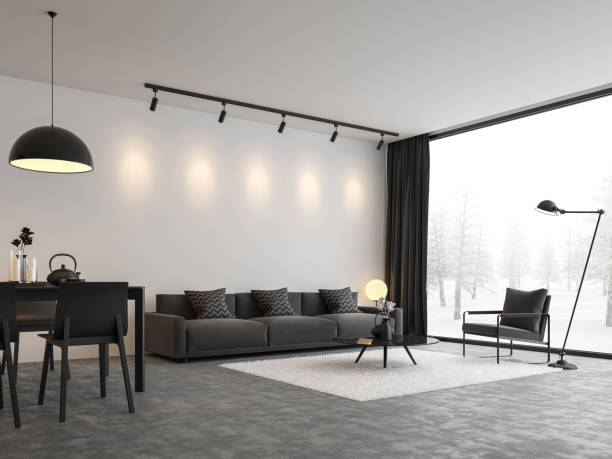 Minimal style living and dining room 3d render stock photo