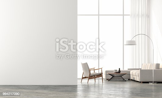 Minimal style  living room 3d render.There are concrete floor,white wall.Finished with beige color furniture,The room has large windows. Looking out to see the scenery outside.