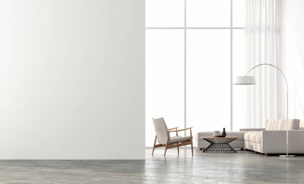 最小樣式客廳3d 渲染 - 室內 個照片及圖片檔