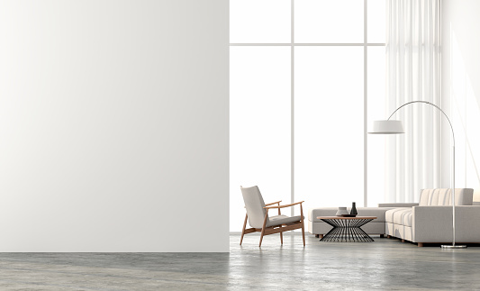 Minimal Style Living Room 3d Render — стоковые фотографии и другие картинки Архитектура