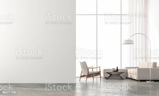 Photo of Minimal style  living room 3d render