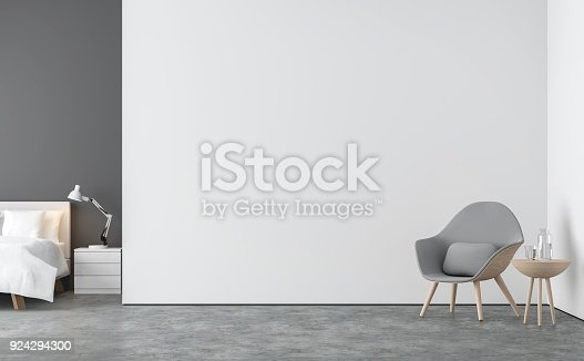Minimal style  living room and bedroom 3d rendering image.There are concrete floor,white and gray wall.Finished with white bed and gray fabric lounge chair.