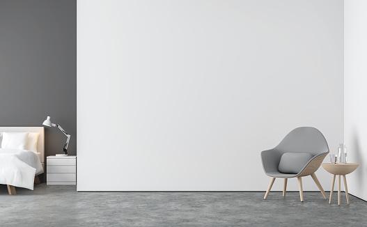 最小限のスタイルのリビング ルームとベッドルームの 3 D レンダリング画像 - 3Dのストックフォトや画像を多数ご用意