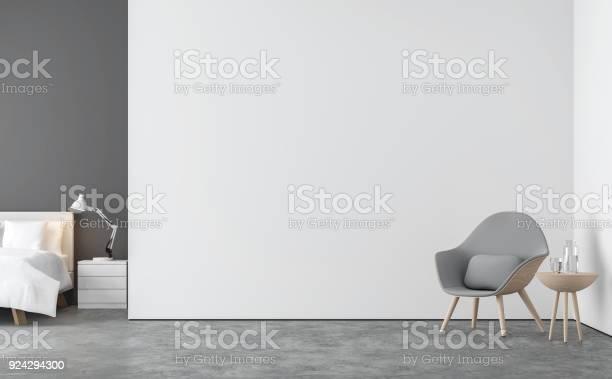 Minimalstil Wohnzimmer Und Schlafzimmer 3d Render Bild Stockfoto und mehr Bilder von Wand