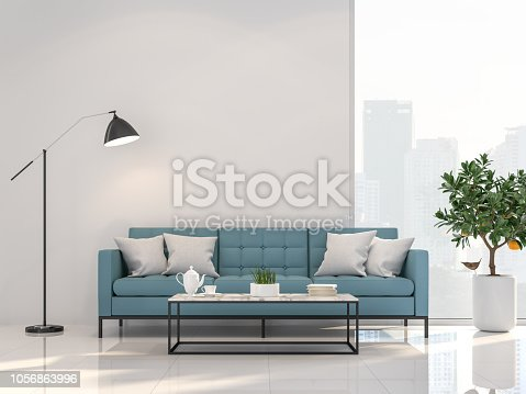 1066863894 istock photo Minimal style living room with city view 3d render 1056863996