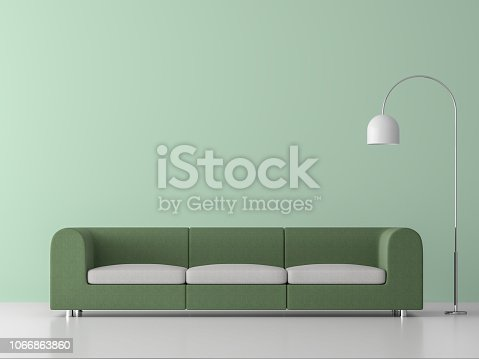 994217090istockphoto Minimal style living room with green sofa 3d render 1066863860