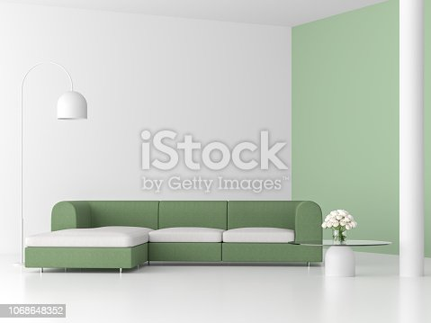 994217090istockphoto Minimal style living room with green sofa 3d render 1068648352