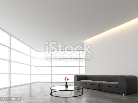 994217090istockphoto Minimal style living room with white backdrop 3d render 1171956135
